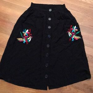 Black embroidered skirt from Mexico City, size S!